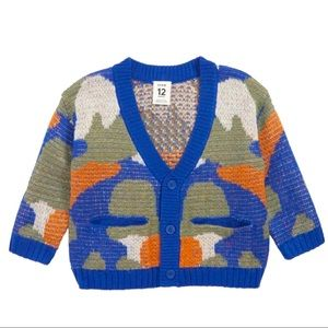 Stem Abstract Camo Print Cardigan in Blue